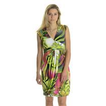 10 NWT Joseph Ribkoff Pink Green Floral Sleeveless Jersey V Neck Wrap Dress