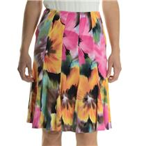 8 NWT Joseph Ribkoff Colorful Pink Jersey Floral Flared Hem A-Line Skirt 10572
