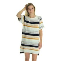 NEW Sz M Tularosa Maci Raglan Short Sleeve Navy/Mustard/Ivory Stripe Knit Dress
