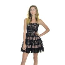 0 Betsey Johnson Vintage Black Lace Cupcake Dress With Ruffle Tiered Skirt RARE