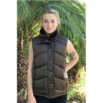 L Chill Couture Dark Brown Puffer Vest Zip & Snap Front w/Soft Collar & Pockets