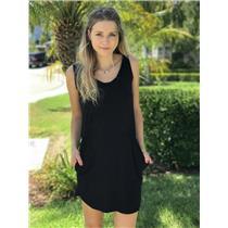Sz S Alternative Black Jersey Sleeveless Gathered Waist Detail Scoop Neck Dress