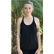 Sz 8 Lululemon Black Scoop Neck Stretch Athletic Mesh Back Racerback Tank Top