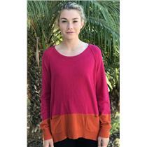 2 (M) Michael Stars Bright Pink & Orange Crewneck Cashmere Wool Sweater w/Pocket