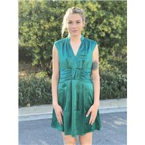 Sz 6 Nanette Lepore Bombay Satin Sleeveless Deep V Neck Dress Jade~Emerald Green