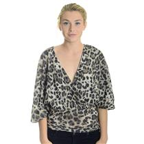 L NEW Sweet Pea by Stacy Frati Tan/Brown Leopard Print V-Neck Empire Dolman Top
