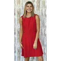 8 ABS Allen Schwartz Red Fit and Flare Ponte Knit Sleeveless Dress Black Piping