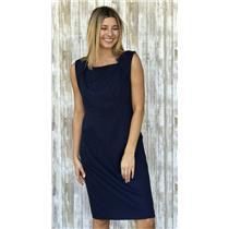 6 Tahari Navy Blue Ponte Knit Sleeveless Sheath Dress Square Neck Tailored Fit