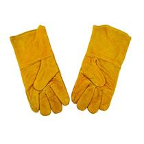 """1 Pair 13"""" Yellow Leather Welding Gloves-Safety-Furnace-Gold Melting-Smelting"""