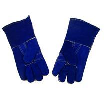 "1 Pair 13"" Blue Leather Welding Gloves-Safety-Furnace-Gold Melting-Smelting"