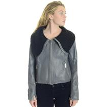L NEW 1020 by Nicole Grey BUTTER SOFT Leather Jacket w/Oversized Knit Collar
