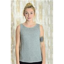 S Sigrid Olsen Gray Speckled Sweater Sleeveless Tank Top/Shell  w/Horizontal Rib