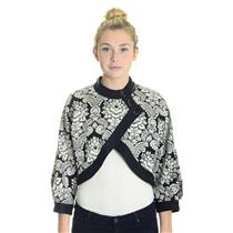 10 NWT Joseph Ribkoff Black Paisley Jacquard Button Crop Cardigan Sweater Shrug
