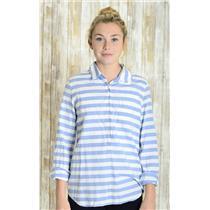 Sz 6 J. Crew Blue/White Stripe Long Sleeve Button Neck Cotton Camp Popover Top