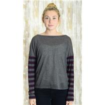 One Size Michael Stars Gray Knit Long Sleeve Purple Stripe Light Jersey Top