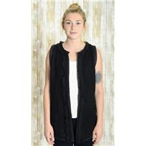 M Anthropologie Hazel Black Sleeveless Wool Blend Open Front Vest w/Crochet Lace