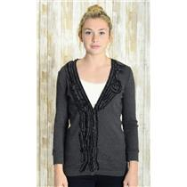 Sz S J. Crew Dark Gray Whirling Ruffles Button Front Embroidered Detail Cardigan