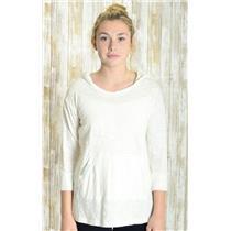 S Saturday/Sunday Anthropologie Winter White Jersey Slub Knit Pocket Hooded Top