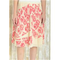 10 Free People Pink 100% Cotton Floral Print Pleated Lined Sequin Detail Skirt