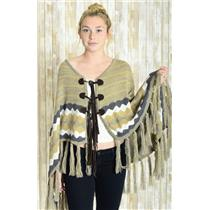OS Jen's Pirate Booty Natural Knit Gold Stripe Fringe Suede Tie Journey Poncho