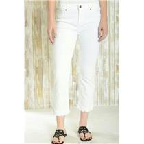 Sz 29 Driftwood White Cotton Blend Classic Fit 'Candace' Raw Hem Zip Fly Jeans