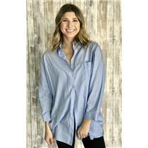 Sz 14/US 10 Thomas Pink Women's Blue Dolman Sleeve Button Down Cotton Shirt