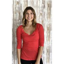 Sz M Velvet Graham Spencer Coral Pink/Red Cotton Ribbed Knit Long Sleeve Top