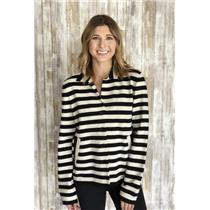 10 Akris Punto Navy/Ivory Wool Blend Long Sleeve Button Front Collared Cardigan