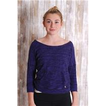 S Juicy Couture Purple/Black Heather Scoop Neck Front Pocket Pullover Knit Top