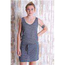 S Michael Stars Navy Blue/White Stripe Sleeveless Scoop Neck Jersey Dress w/Tie