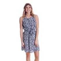 NWT Sz M Gap Navy Floral Print Tie-Belt Fit and Flat Sleeveless Scoop Neck Dress