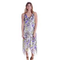 10 NWT Click Collection Handkerchief Crepe Chiffon Green Purple Leaf Print Dress