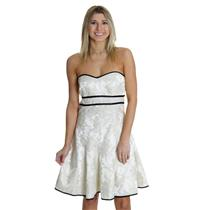 11 NWT Jessica McClintock Ivory Black Brocade Bow Back Strapless Fit Flare Dress