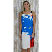 10 Milly Blue/White/Red Abstract Painting Printed Square Neck Sleeveless Dress