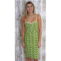 4 Nanette Lepore Green Dress w/Cream Embroidered Detail Lined & Optional Straps