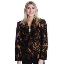 8 NWT Cartise Brown Black Velvet Flocked Fleur Jacquard Formal Blazer Jacket