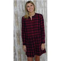 Sz 2 J. Crew Navy & Red Plaid Drop Waist Pleated Front Shirt Dress 100% Cotton