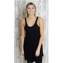 Sz L SKY Black Jersey Knit Sleeveless Scoop Neck Rose Detail Stretch Shift Dress
