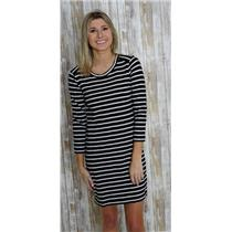XS J. Crew Black & White Striped 100% Cotton Shirt Dress w/Side Zippers C1037