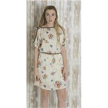 S Love Stitch Dress Ivory Satin Black Piping Floral Print Open/Split Shoulders