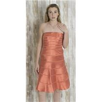 6 Chetta B Silk Mesh Ribbon Stripe Strapless Tea Dress Structured Boning Orange