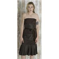 4 Banana Republic Silk/Poly Espresso Strapless Pleat Tiered Cocktail Dress Lace