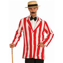 Roarin' 20's Old Time Adult Red and White Striped Costume Jacket Size XL