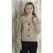 L FANG Tan Notched Collar Cotton Canvas Mini Trench Coat Canvas Jacket
