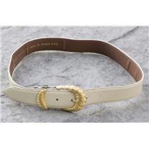 "M Harve Benard by Benard Holtzman Ivory w/Gold Buckle Leather Belt 1395LS 27"""