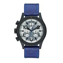 Nixon Women's 38-20 Chrono Leather Watch, 38 MM A504-2131-00 Black/Blue