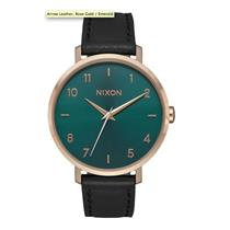 Nixon Women's Arrow Leather Watch Black/Rose Gold/Emerald 38mm