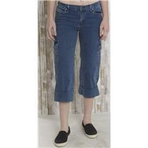 Sz 6 David Kahn Jeans Straight Leg Cuff Cargo Super Stretch Blue Denim USA MADE