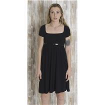 S ABS Allen Schwartz Collection Black Cap Sleeve Jersey Mini Dress Belted Waist