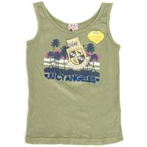 Sz 8 NWT Juicy Couture Kids Los Angeles Palm Print Green Ribbed Tank Top Cypress